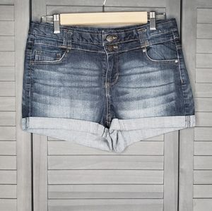 Blue Spice Double Button Blue Cuffed Shorts 30